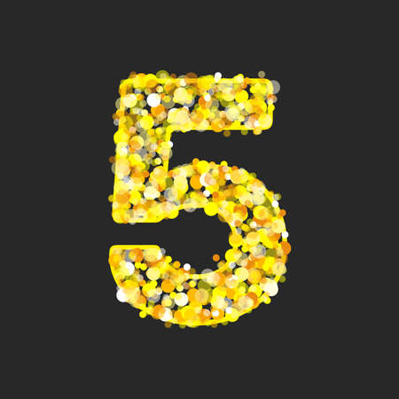 Gold glittering number 5.
