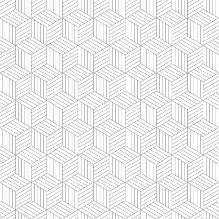 Geometric silver cubes seamless pattern.
