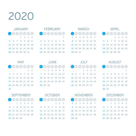 Calendar 2020 year vector.