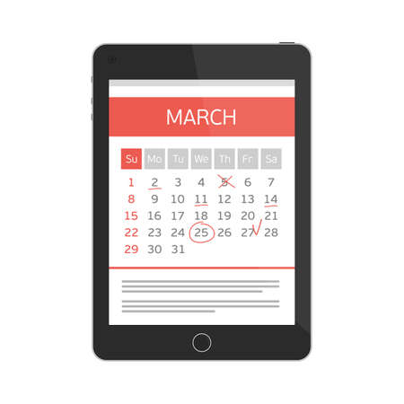 Concept of mobile application for calendar. Week started on Sunday. Important event. Concept for web banners, web sites, printed materials, infographics. Modern illustration. Organizer.