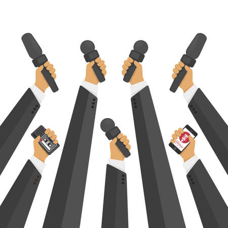 News banner poster vector template. Set of microphone. Concept of Media tv and interview, information for television, broadcasting mass and communication. Live report, live news illustration. Vettoriali