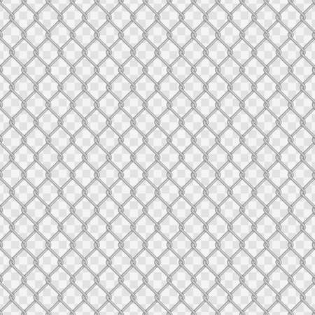 Seamless chain link fence background. Fences made of metal wire mesh on transparent background. Wired Fence pattern in flat style. Mesh-netting.