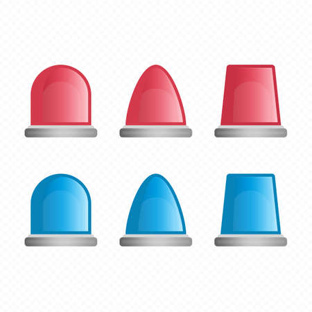 Red and blue sirens, flashers ambulances, police or firefighters. Flasher, Siren vector set. Icons for alarm or emergency cases in a flat style.