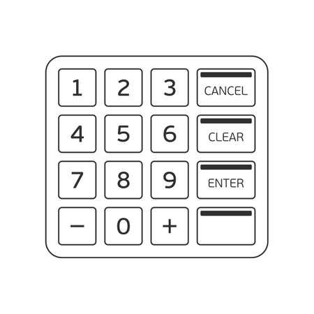 Atm keypad isolated on white. Keyboard buttons of automated teller machine. Vector illustration EPS 10.