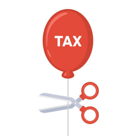 Cutting tax balloon with scissor. Business, finance and profit concept. Vector illustration EPS 10.