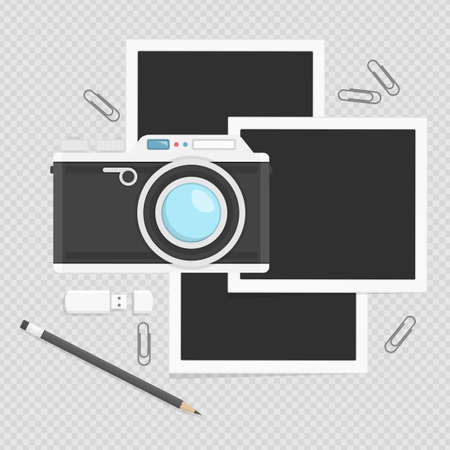 Camera with photos in flat style isolated on white background. Vintage Photo camera with picture, pencil, paper clips and USB flash drive. Ilustração