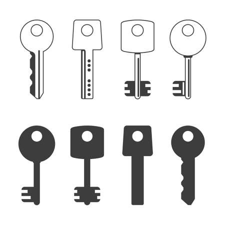 Key icon set. Keys silhouette, Black keys signs isolated on white background. Set of different types house keys. Symbol of Security or Privacy. Modern and retro skeleton access.