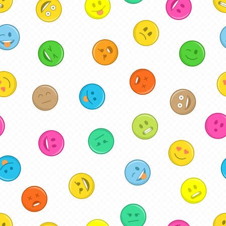 Seamless pattern with faces emotions. Smiling face texture template. Modern smileys for textiles, interior design, for book design, website Background. 向量圖像