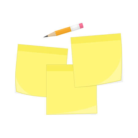 Set of yellow memo reminder papers and pencil. Paper sticky notes, ready for your message. Sticky note collection isolated on transparent background. Realistic style. Vector illustration