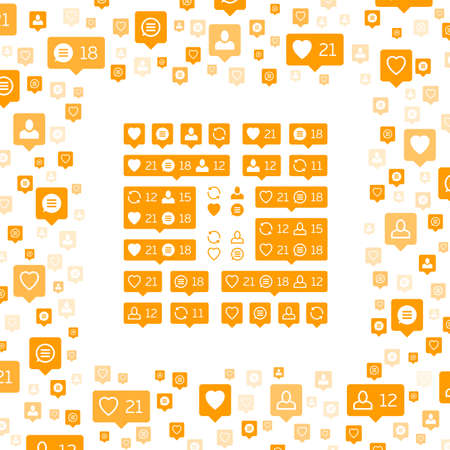 Social network icons pack on white background. Like, comment, follow and repost. Notification Tooltip with heart, user, speech bubble, counter. Orange social network icons pack. 向量圖像