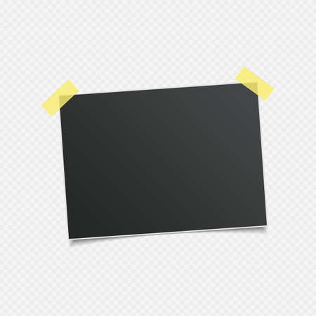 Blank photo frames with shadow effects and sticky tape scotch isolated on transparent background. Photos templates frame for your picture. Vector illustration realistic style