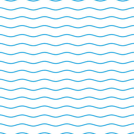 Blue and white seamless wave pattern. Linear waves background. Abstract geometric ornament. Sea or ocean texture. Vector illustration in flat style.