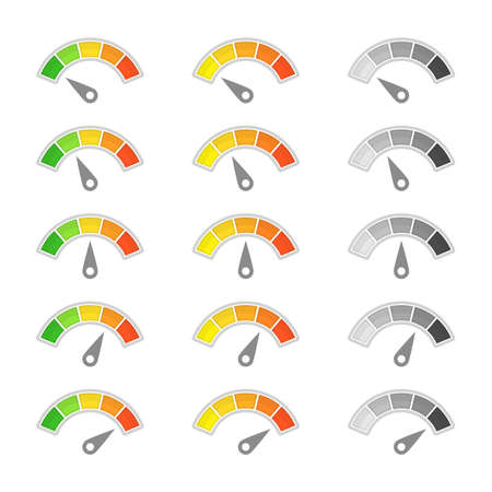 Speedometer with arrow icon. Collection of colorful Infographic gauge element. Speedometers or rating meter signs for apps. Tachometer, flowmeter with multicolored indicator.
