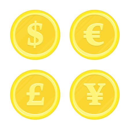 World currency icons Dollar, Euro, Yen and Pound sterling. Currency Gold Coins. Business, finance or currency exchange concept. Vector illustration in modern flat style.
