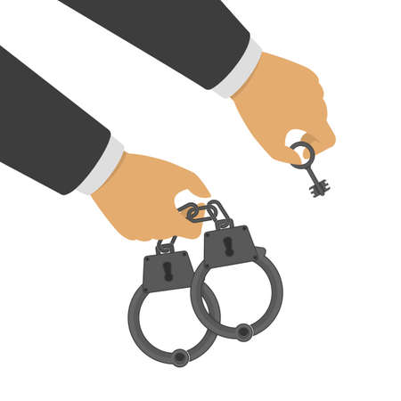Hand holding a handcuffs and key. A crime, corruption and arrest concept. Handcuffs in the hands of the policeman. Vector illustration in flat style.