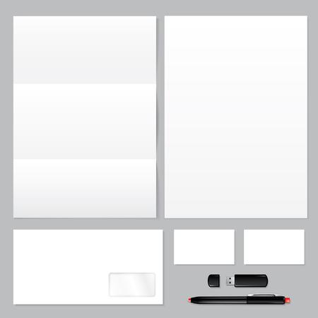 workpiece: Set of corporate identity templates � blank, envelope, paper, business card, usb flash drive, pen.