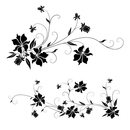 Set of floral design elements with swirls