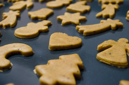 baking tray: Homemade raw christmas cookie on the baking tray