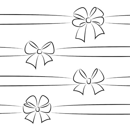 ribbons and bows: Sketch bows with ribbons. Hand drawn graphic elements for your design