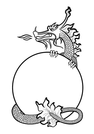 scaly: Illustration of a hand drawing chinese dragon Illustration