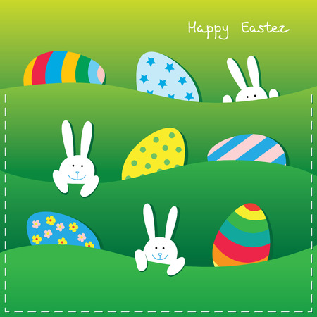 Easter paper card with a funny little bunnies and large Easter eggs in pockets.