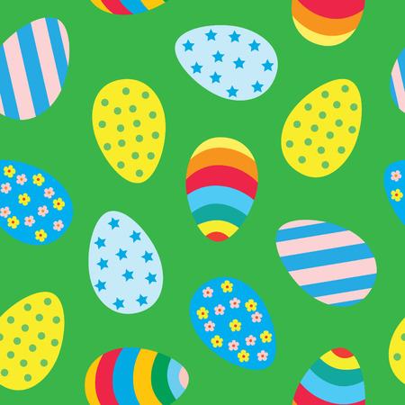 Easter seamless pattern with colourful Easter eggs. Stock Illustratie