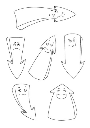 Set of the cartoon emotion arrows outlined. Stock Illustratie