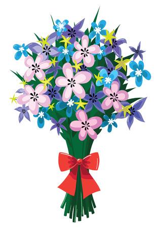 春の花と赤の弓の巨大な花束のイラスト