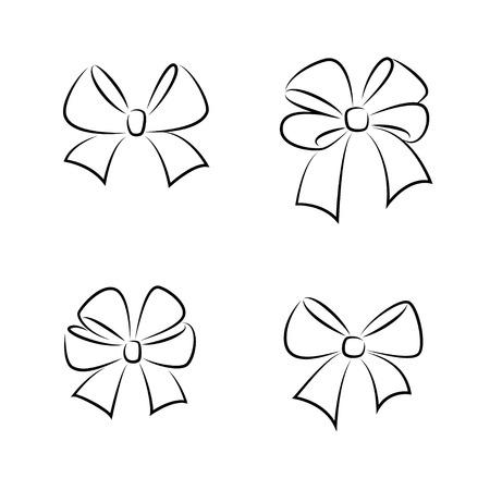 ギフト弓をスケッチします。手描きデザインのグラフィック要素