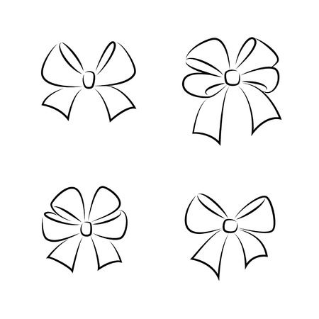 Sketch gift bows. Hand drawn graphic elements for your design