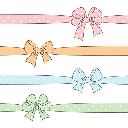 Sketch bows and ribbons colored in red, orange, blue, green. Hand drawn graphic elements for your design
