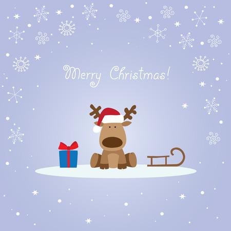 トナカイ、そり、ギフト ボックス付きのクリスマス カード。  イラスト・ベクター素材