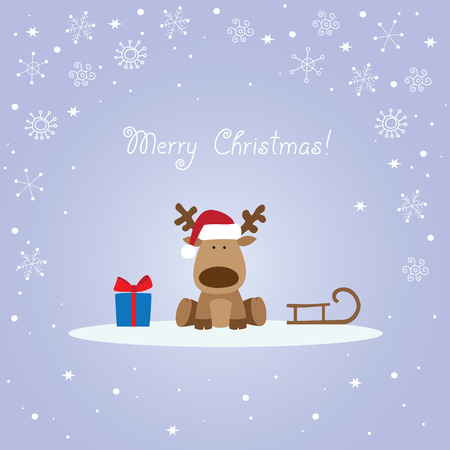 Christmas card with reindeer, sleigh and gift box. Ilustracja