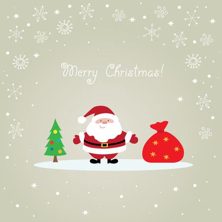 Christmas card with Santa Claus, bag and tree