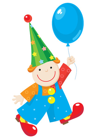Illustration of a cheery clown in stars and circles costume, red shoes and stars hat. Clown hold up blue balloon and smile.