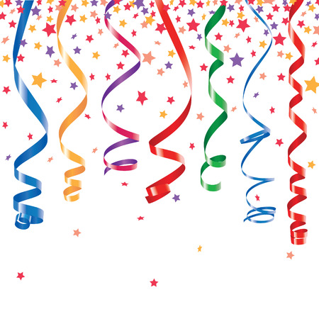 Red, green, yellow, blue shiny curling ribbons or party serpentine with stellar confetti