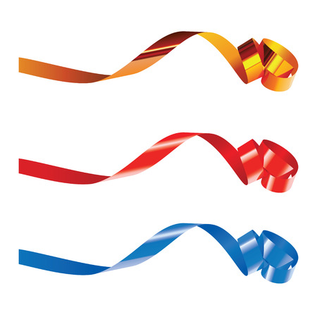 Gold, red and blue curling ribbons isolated on white for design