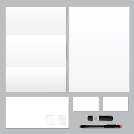 Set of corporate identity templates — blank, envelope, paper, business card, usb flash drive, pen.