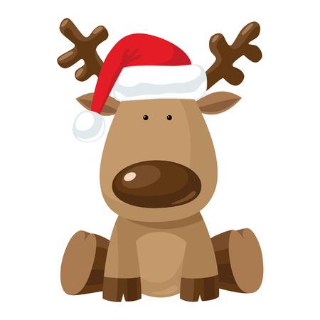 赤いクリスマス帽子座っているトナカイの子。
