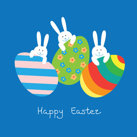 Easter card with a funny little bunnies and large Easter eggs on blue background. Stock Illustratie