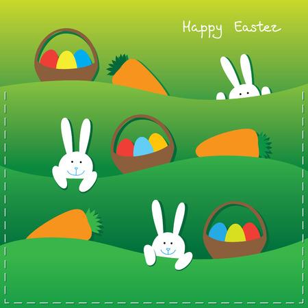 Ostern-Karte mit lustigen Hasen, Eier in den Körben und Karotten. Standard-Bild - 39106292