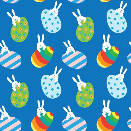 Ostern nahtlose Muster mit einem lustigen kleinen Häschen und große Ostereier. Standard-Bild - 39106293