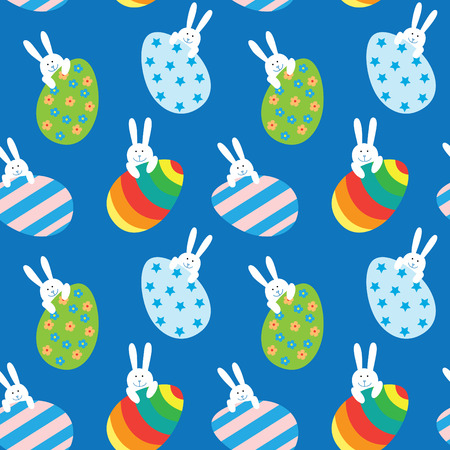 Easter seamless pattern with a funny little bunnies and large Easter eggs.