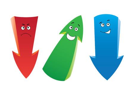 Set of the cartoon emotion arrows Ilustracja