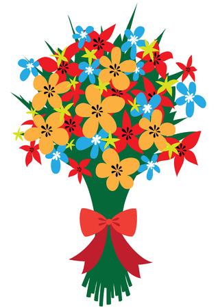 赤の弓の抽象的な野の花のお祝い花束のイラスト