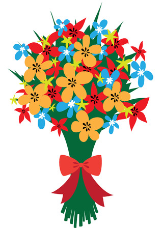 Illustration of a festive bouquet of abstract wildflowers with red bow