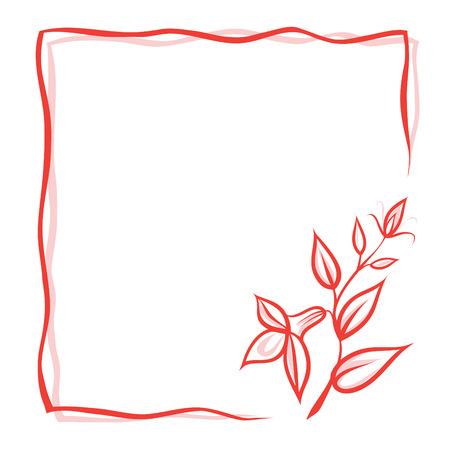 花、赤の二重枠、テキストのための場所とグリーティング カード。