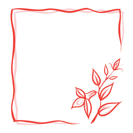 Greeting card with flower, red double frame and place for your text. Stock Illustratie