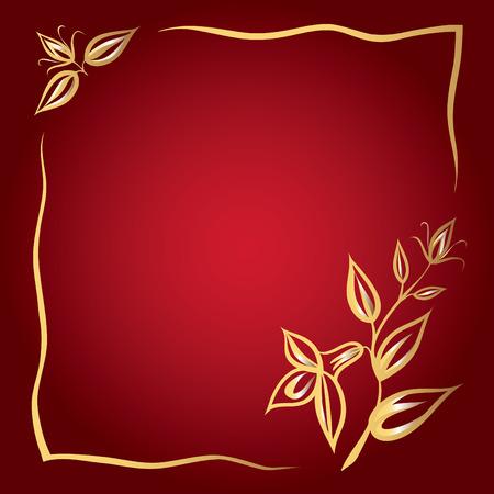 黄金の花と赤い背景の上のフレームのグリーティング カード。