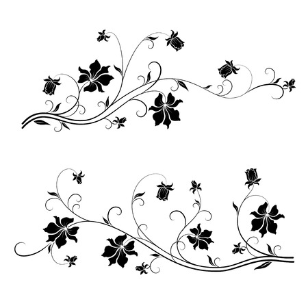 Set of floral design elements with swirls.